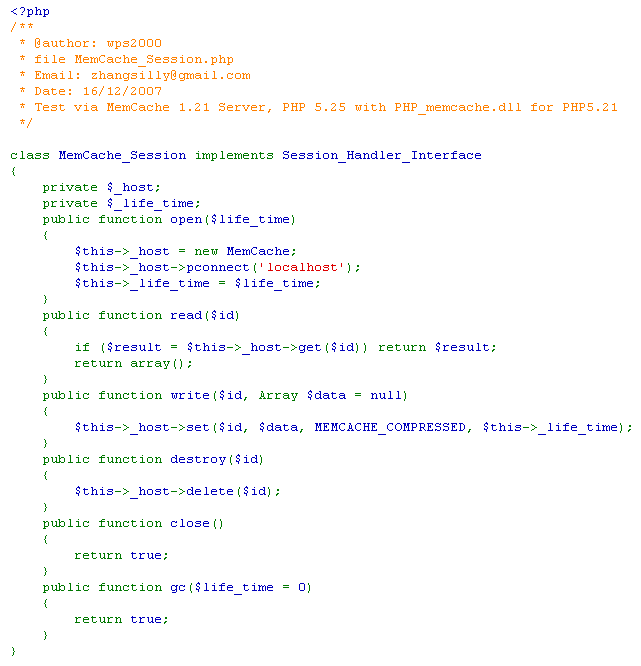 MySQL内存表、MyISAM表、MemCache实现Session效率比较