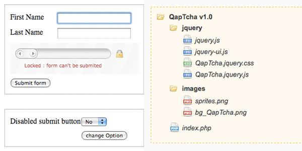网页验证码 qaptcha