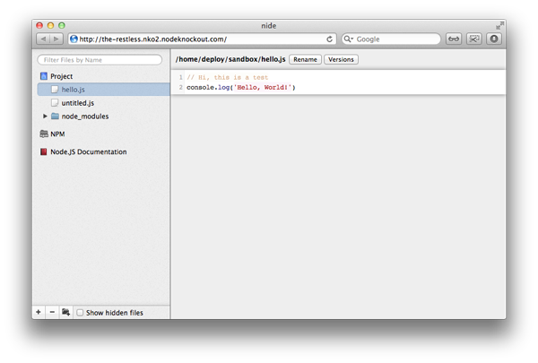 nide:一个不错的Node.js IDE