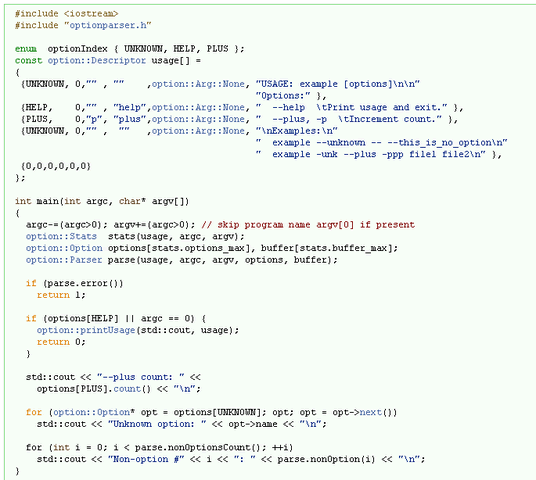 解析程序参数的C语言库 - The Lean Mean C++ Option Parser