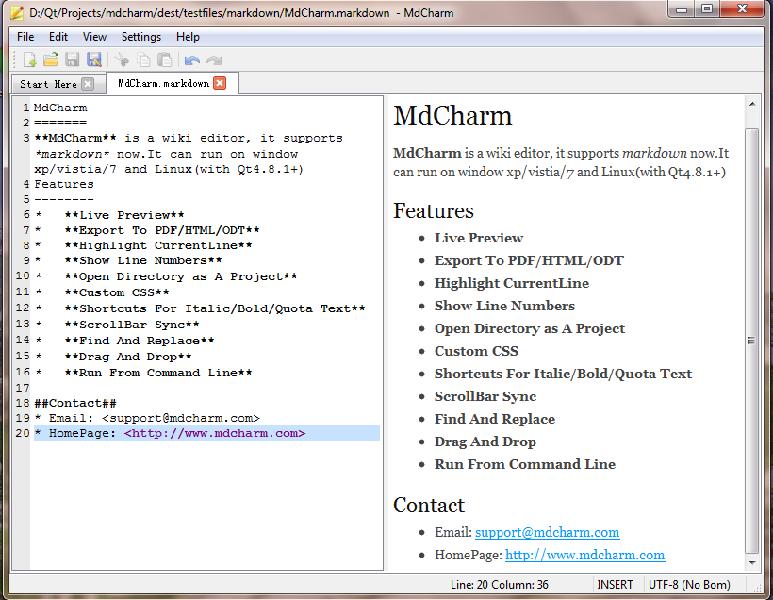 軟件開發 markdown處理庫  mdcharm是一個帶對照對比圖片