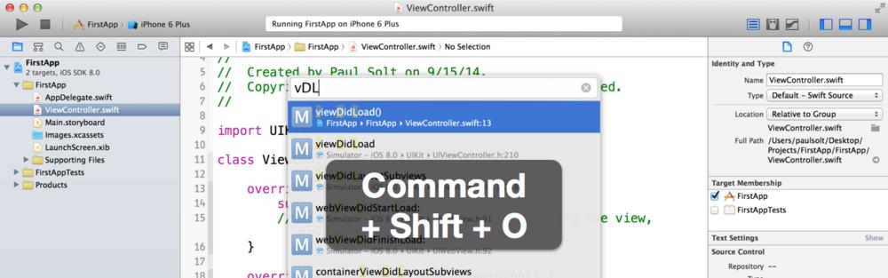 14个Xcode中常用的快捷键操作