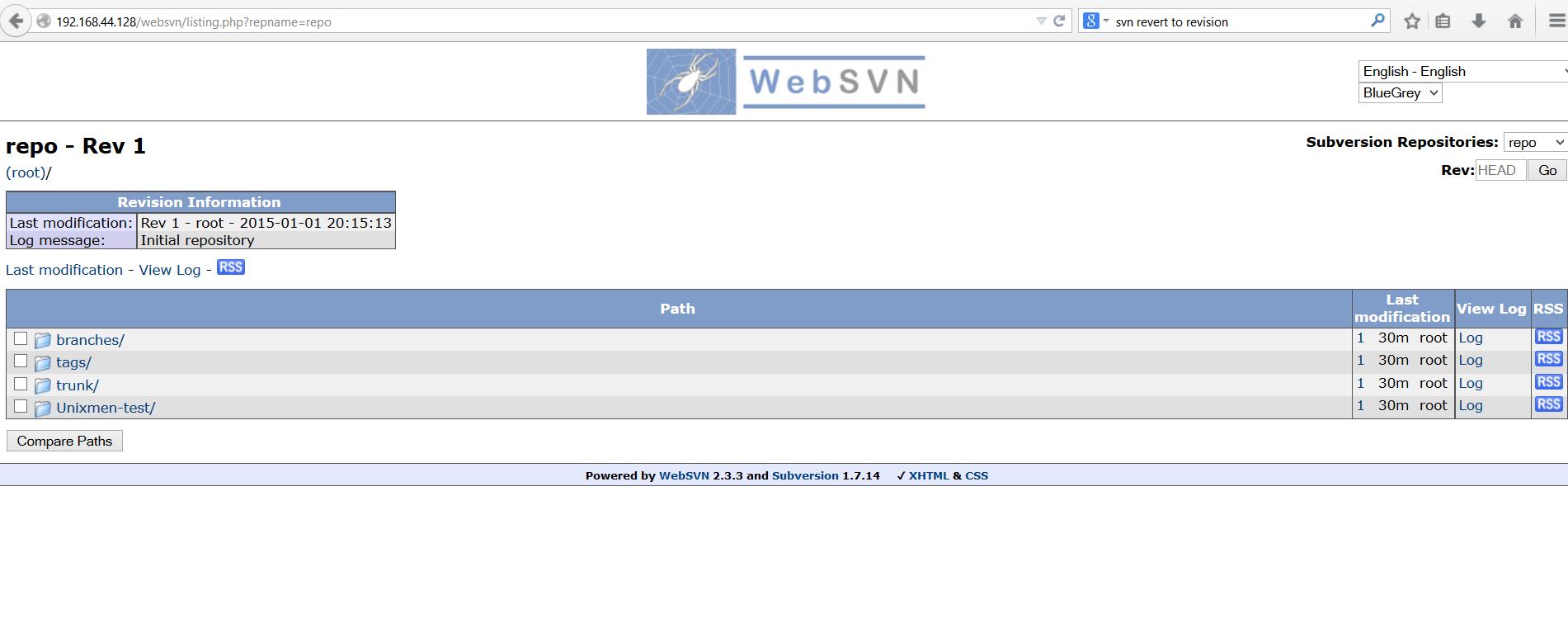 重新加载apache并启动websvn链接http://ip/web