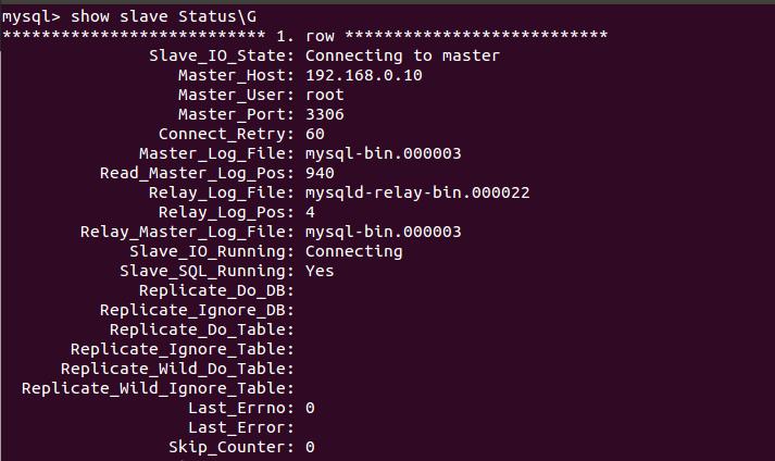 看到服务器的I/O线程 和SQL线程都已经开始运行 我们在主服务器中建立一个数据库 test1