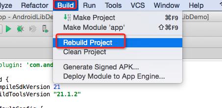 how to build aar android studio