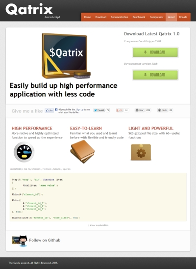 轻量级高性能的JavaScript框架,Qatrix 1.0 发布