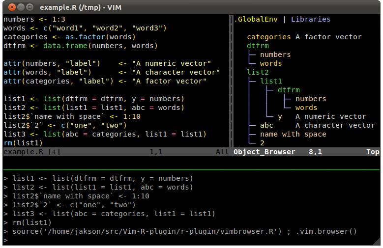 与 rstudio 类似,带有 ess 的 emacs 拥有多视图,它有两个面板:一个