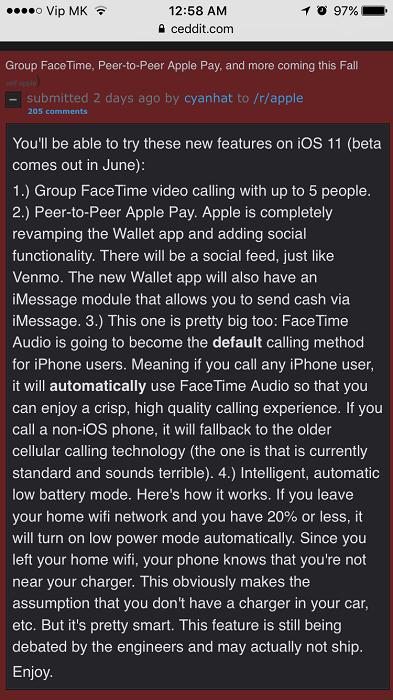 iOS 11多项重大功能流出:Apple Pay或支持点对点支付