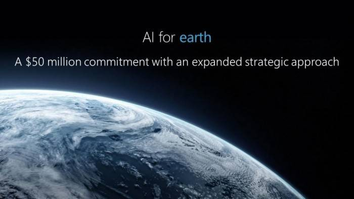 微软宣布投资5000万美元用于地球人工智能项目