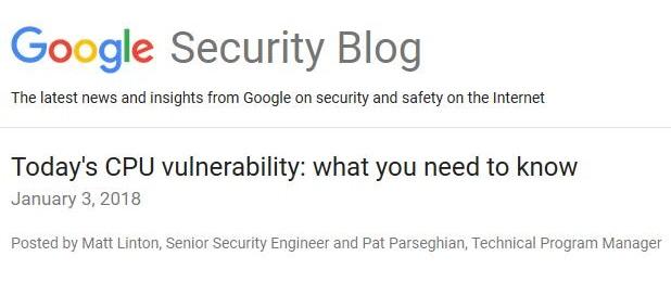 """谷歌安全博客披露""""英特尔内核漏洞""""更多细节"""