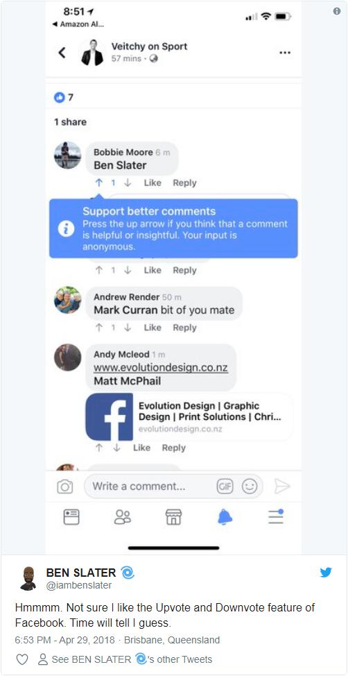 Facebook小规模试验类似Reddit的评论顶踩功能
