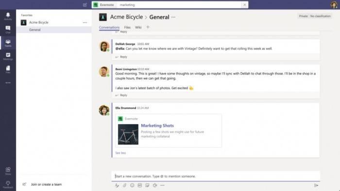 Microsoft Teams办公协作软件宣布整合Evernote功能