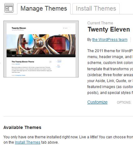 解决WordPress 3.4.1后台无法显示、安装或更换新主题
